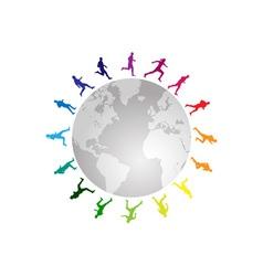 rainbow running around the world vector image