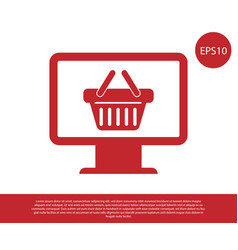 Red computer monitor with shopping basket icon vector