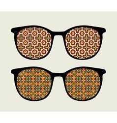 Retro sunglasses with ornament reflection in it vector image
