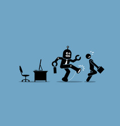 robot employee kicks away a human worker from vector image