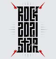 Rockstar 2021 - music poster with red lightnings vector