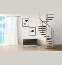 room with spiral staircase empty living interior vector image