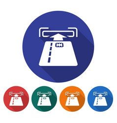 round icon of atm card slot flat style with long vector image