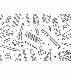 School supplies pattern vector