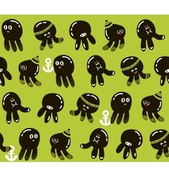 Seamless pattern with cute little octopuses vector image