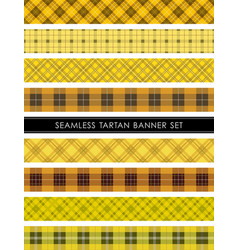 seamless tartan plaid banner set vector image