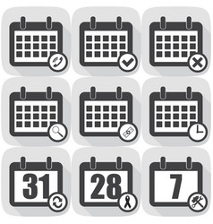 set icons calendar different icons flat vector image