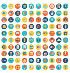 Set of 100 social media icons flat design - part vector