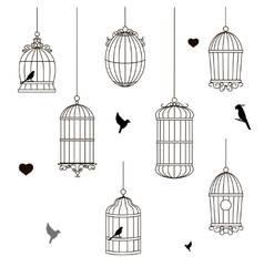 set of different style bird cage vector image