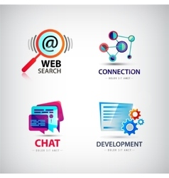 set of web logos connection search vector image