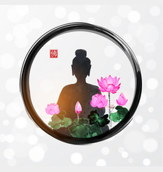 Silhouette meditating buddha and pink lotus vector
