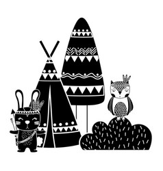 Silhouette rabbit and owl animal with camp and vector