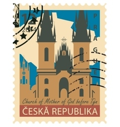 Stamp with the image Prague vector