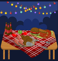 table with grilled beef steaks sausages salmon vector image