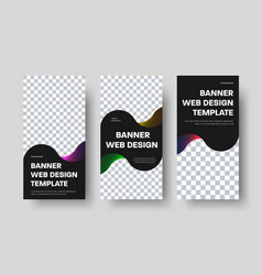Template vertical black web banners with place vector