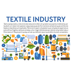 Textile industry banner with icons collection and vector