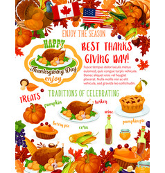 Thanksgiving day banner fall harvest celebration vector