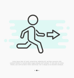thin line icon of exit running man and arrow vector image