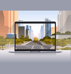 transparent laptop screen cityscape background vector image