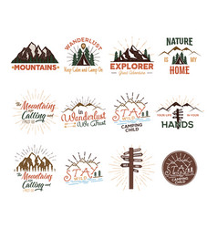 Travel badges set vintage hand drawn camping vector