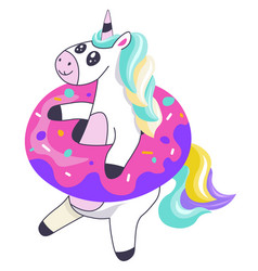 unicorn in donut circle inflatable balloon vector image