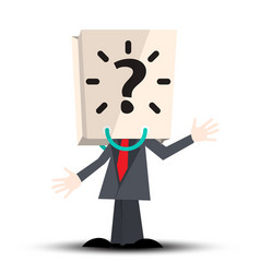 Unknown man with paper bag with question mark on vector