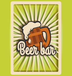 vintage beer bar poster template paper cut vector image