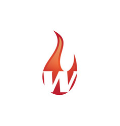 w letter flame logo vector image