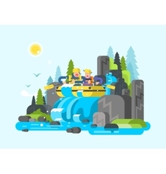 Water river slalom rafting vector