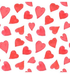 Watercolor hearts seamless pattern Repeating vector image