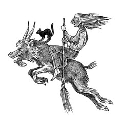 Witch flies with a broom and a goat ancient vector