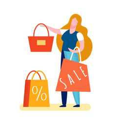 Woman selling handbag flat vector