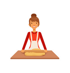 young woman rolling dough housewife girl cooking vector image