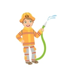 Boy Dressed As Fireman With Hose vector image vector image
