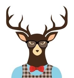 Deer hipster dressed glasses vector