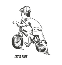Kid starting bmx ride vector image vector image