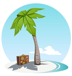Palm and suitcase vector image