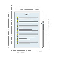 the test icon in linear flat style poll exam or vector image vector image