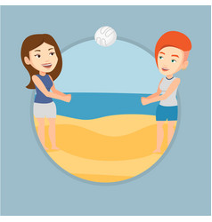 two women playing beach volleyball vector image vector image