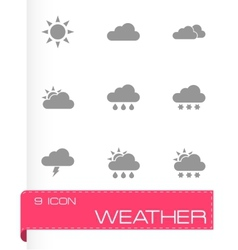 black weather icon set vector image vector image