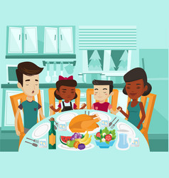 multiracial family praying at festive table vector image vector image
