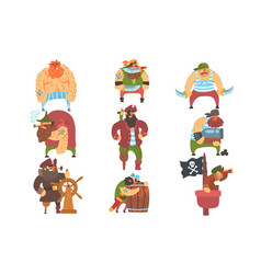 scruffy pirates cartoon characters set vector image vector image