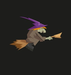 Witch on a broomstick isolated on a black vector image vector image