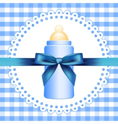 checkered background with baby bottle vector image vector image