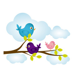 Colorful cloudscape with birds on branch with vector
