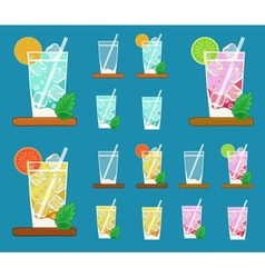Colorful set of glasses with Summer lemonades with vector image