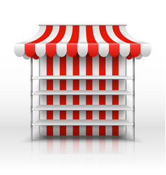 empty market stall kiosk with striped awning vector image