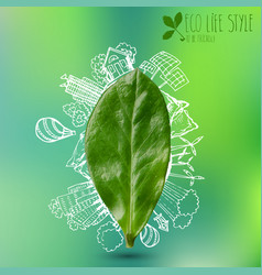 green leaf with circle ecology doodles sketched vector image