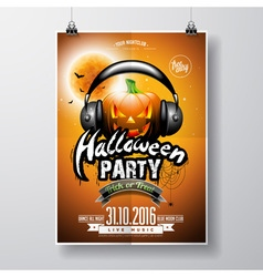 Halloween Party Flyer Design with pumpkin vector image vector image