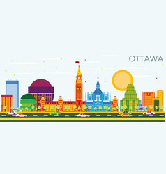 ottawa skyline with color buildings and blue sky vector image vector image